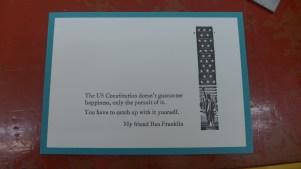 The finished Ben Franklin postcard!
