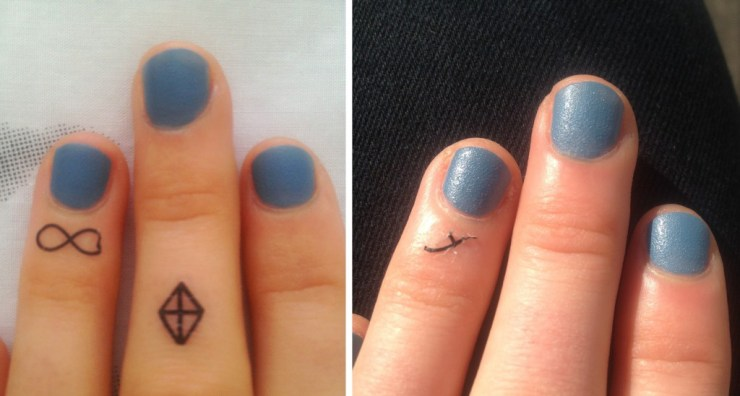 Tattoo nach ca. 1 Stunde nach dem Aufkleben (links) und nach 6 Stunden (rechts)