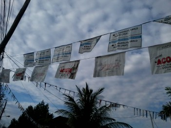 Posters turned into buntings for GSIS fiesta -darn this.