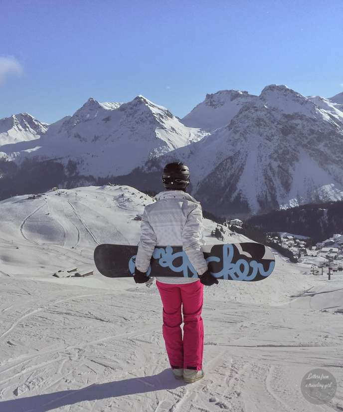 me with my snowboard in Arosa, switzerland