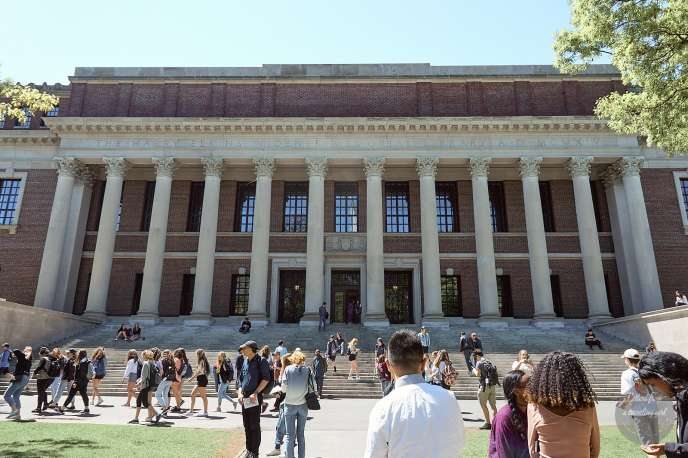 Harvard library with students