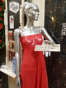Downtown Ventura: Please do not tough the mannequin. She is sensitive and you haven't taken her to dinner yet.