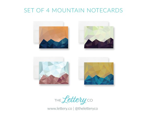 Set of four mountain sunset abstract geometric notecards in multiple colors