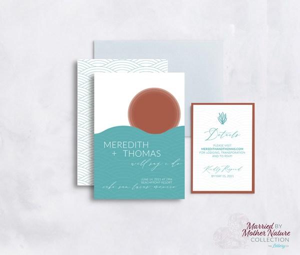 Abstract modern beach wedding invitation