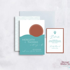 Abstract modern beach wedding invitation