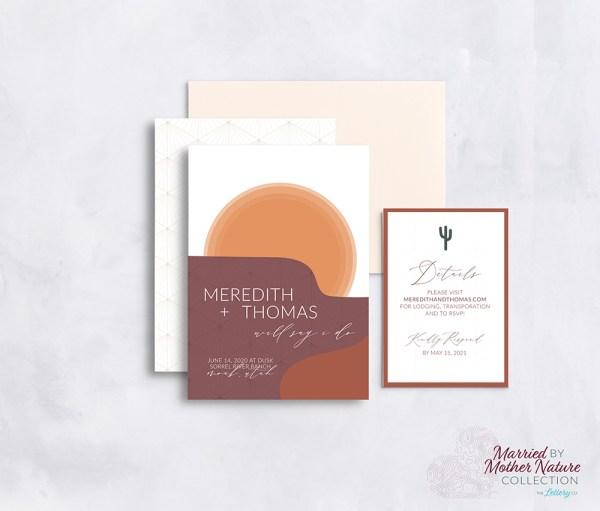 Abstract modern desert wedding invitation