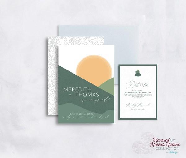 Abstract modern mountain wedding invitation