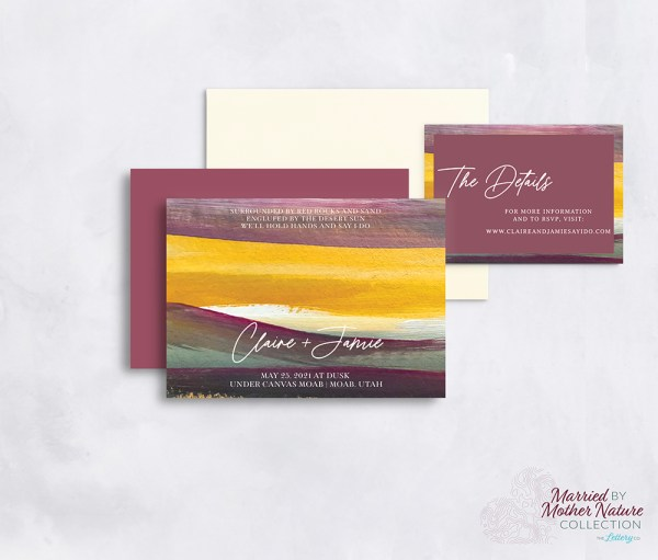 Artistic and colorful desert wedding invitation