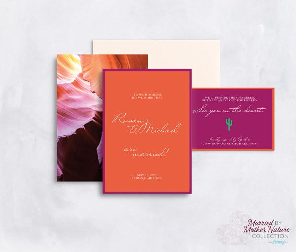 modern bold desert wedding invitation