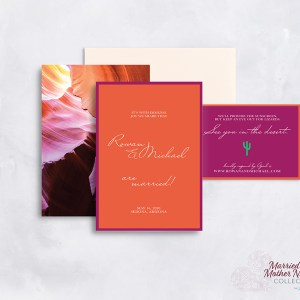 modern bold desert wedding invitation