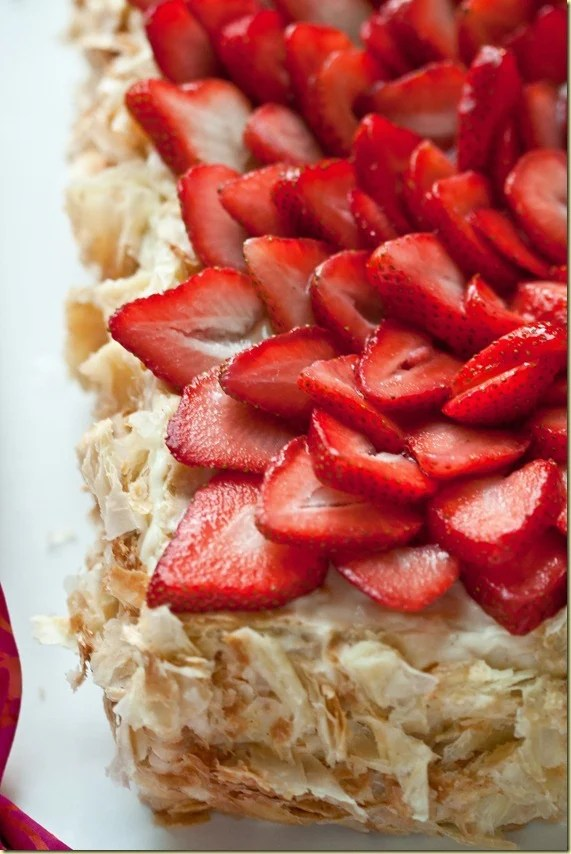 """""""Napoleon"""" Cake & Pastry Cream topped with fresh strawberries."""