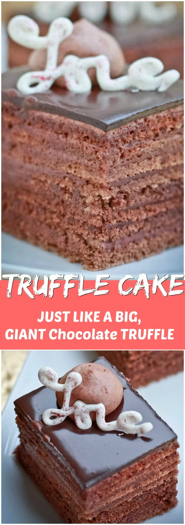 Delicious Truffle cake with with a chocolate layers and a dark chocolate truffle.
