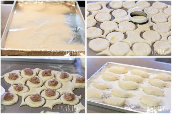 How to form and fill the piroshki and place in a flour sprinkled baking sheet.