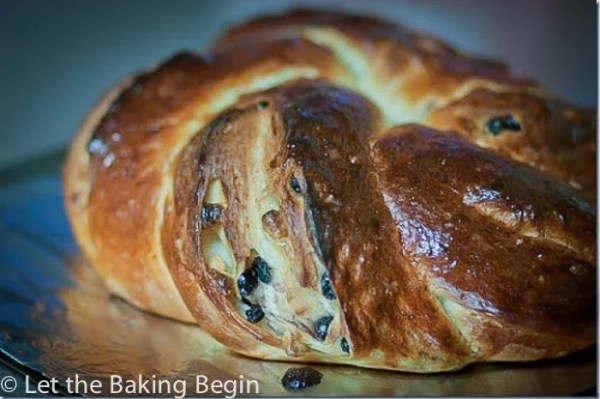 White Chocolate & Blueberry Bread wreath on a baking sheet