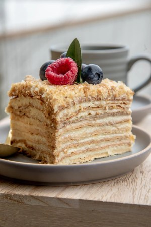 The Best Napoleon Cake is made with thin puff pastry layers, then sandwiched with rich and buttery custard. This Napoleon dessert is one of my family's favorite!-2