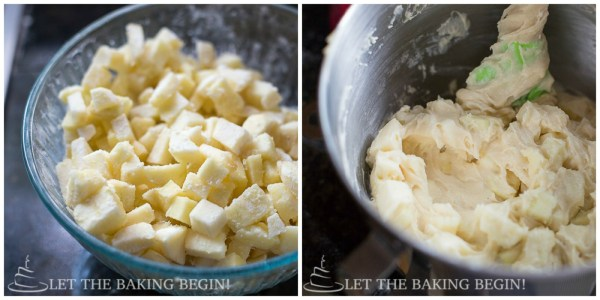 How to fold in diced apples into apple cake batter.