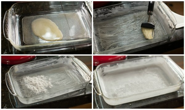 How to spread butter evenly on a baking dish and sprinkle with flour.