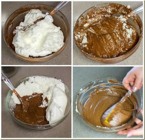 Combining the mixtures to make the flourless fudgy chocolate cake.