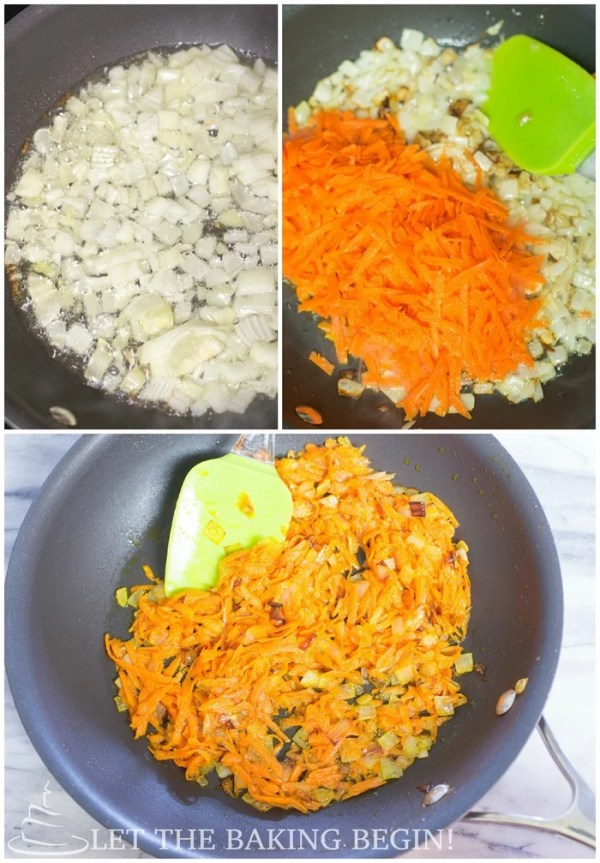 How to saute onions and carrots in a skillet with a spatula.