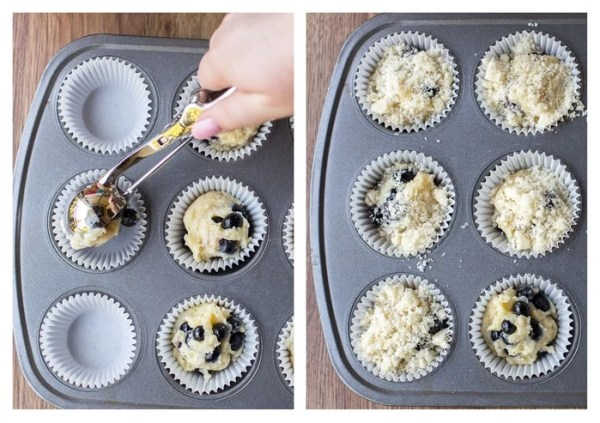 How to use an ice cream scoop to fill muffin liners and sprinkle streusel topping on top.