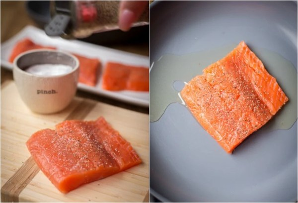Seasoning the salmon and then pan searing it in a skillet.