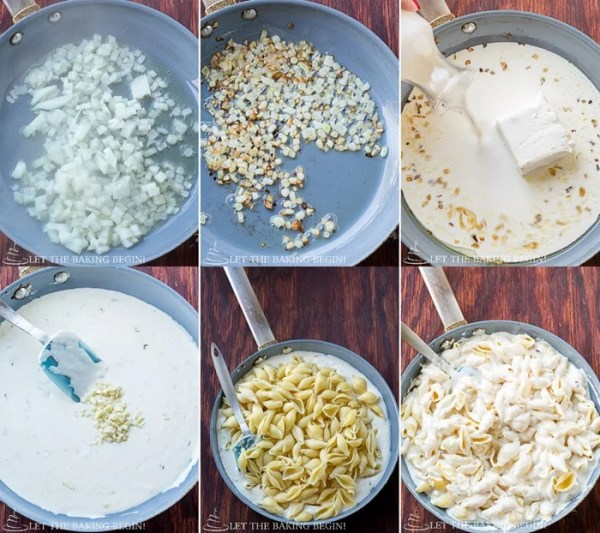 How to make the creamy garlic pasta shells by adding all ingredients into a skillet.