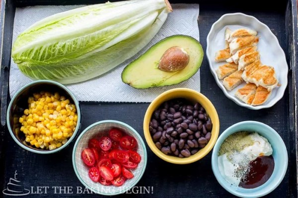Ingredients for the Copycat Cheesecake Factory BBQ Ranch Chicken Salad recipe. Copycat recipes turning into great chicken salads.