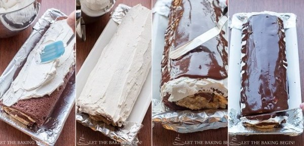How to place chantilly cream and chocolate ganache on rolled chocolate cake and cut edges.