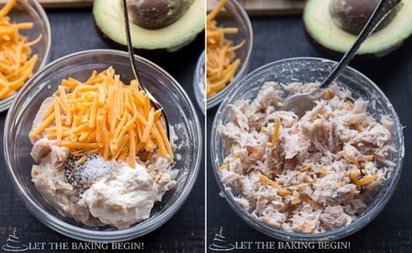 How to make tuna by combining all ingredients in a bowl and mixing together with a spoon.