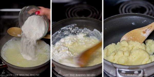 How to add flour to mixture in saucepan and mix with a wooden spatula.