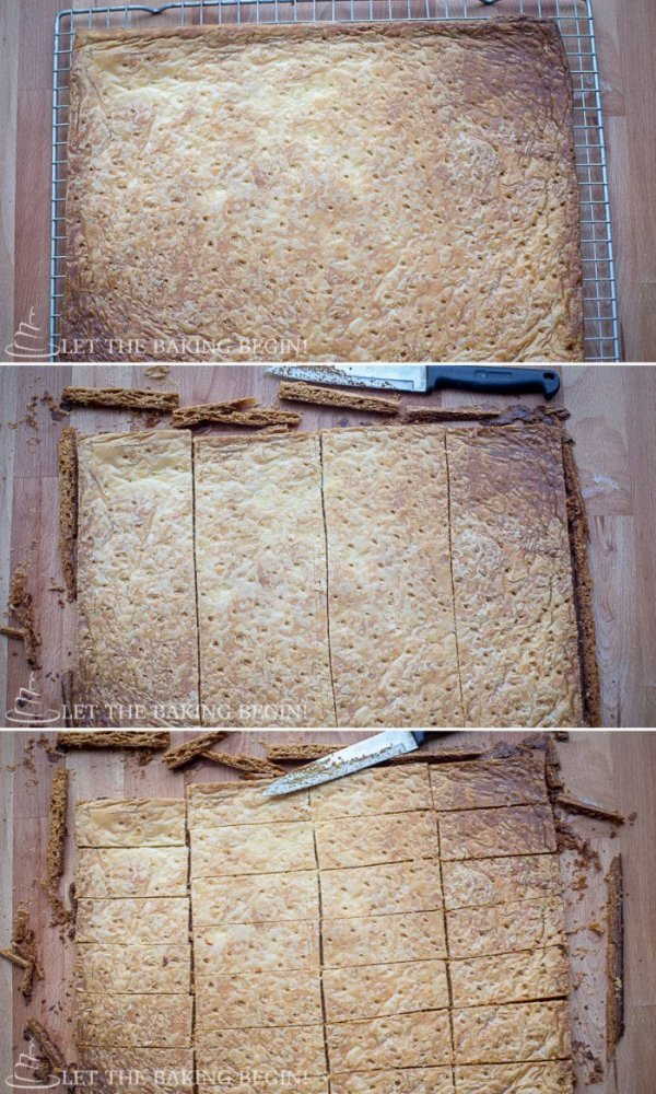 How to cut baked puff pastry into 28 equal rectangles.