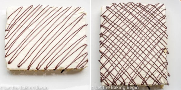 How to drizzle chocolate on top of cake in a zig-zag pattern over the cake.