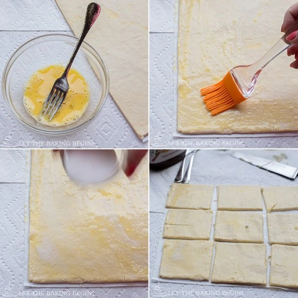 How to prepare the puff pastry sheets for this Nutella puff pastry Danish recipe.