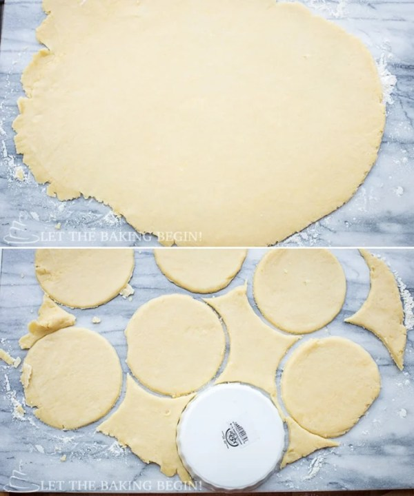 How to roll out dough and cut out circles.