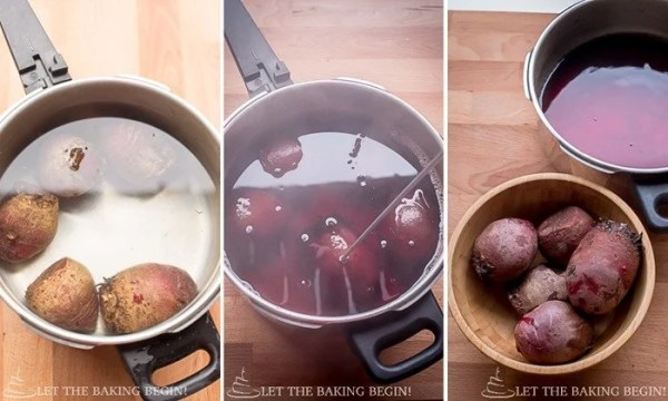 How to boil beets in a pot of water.
