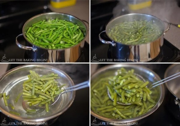 A great green bean recipe with a garlic Parmesan cream topped with fresh Parmesan cheese.