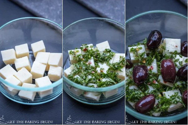 How to marinade the Darligold white cheddar cheese and olives in the homemade marinade.