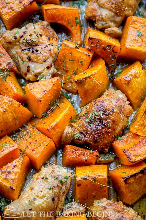One Pan Chicken and Butternut Squash recipe is a super easy, simple and delicious one pan meal.