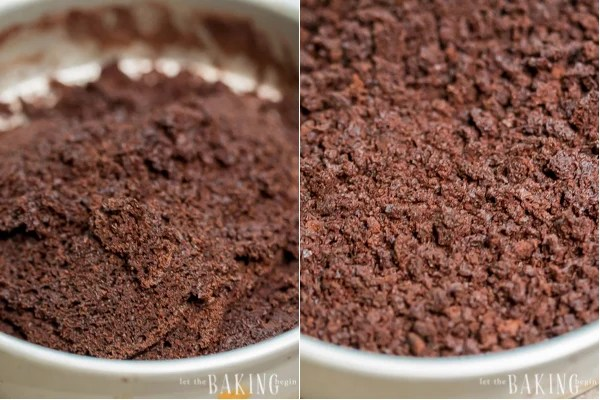 Chocolate crumbs set aside to decorate the cake.