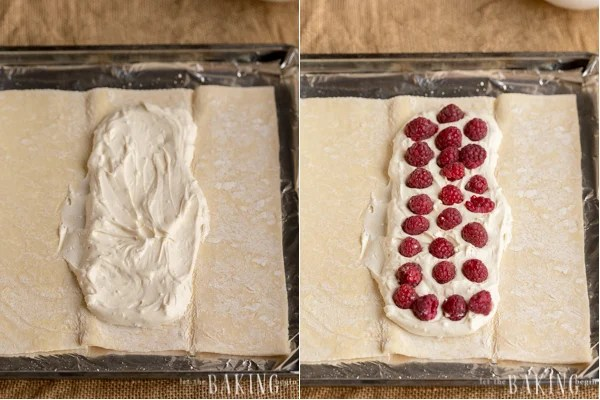 Recipe for how to make raspberry cheesecake danish recipe with puff pastry. A simple and great puff pastry dessert recipe!