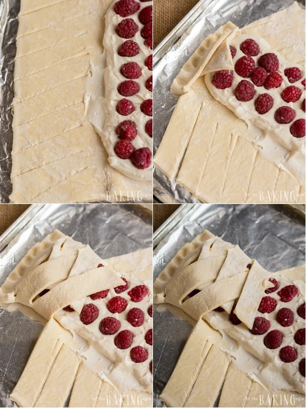 A puff pastry danish braid with a cheesecake filling and fresh raspberries in a braid. The best dessert recipe!