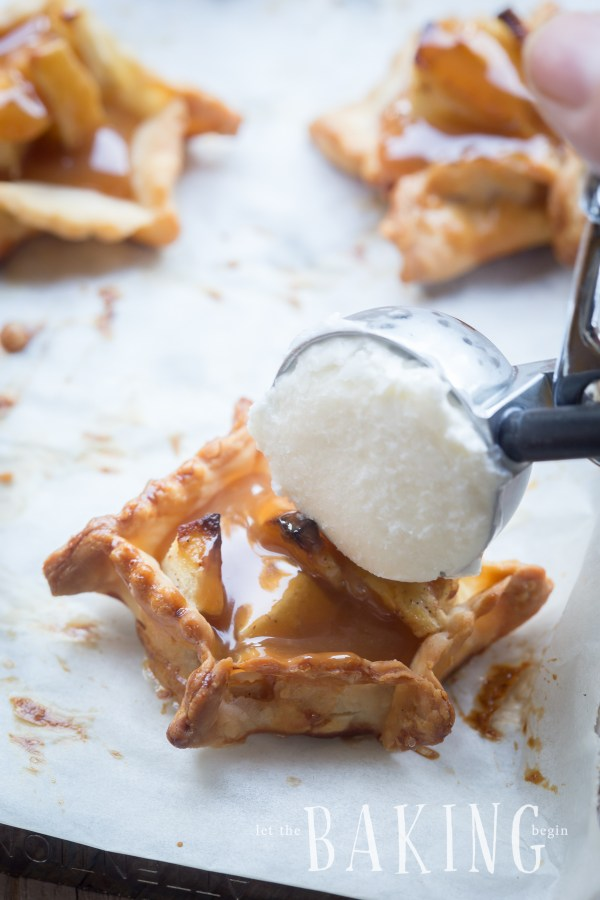 Apple Pie Bites - bite sized cinnamon apple desserts, that can be topped with caramel and ice cream just like the real deal | Let the Baking Begin!