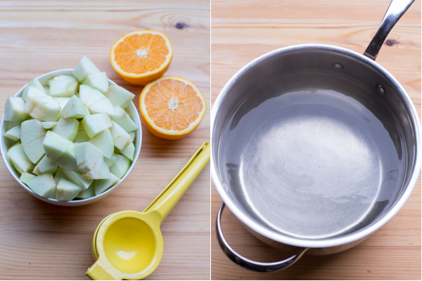 How to cut apples and peel them with oranges and orange juicer.
