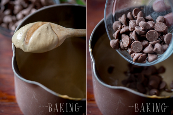 Making the pot de crème with chocolate chip morsels to make a thick and creamy coffee chocolate pot de crème.