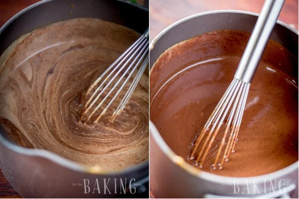 Thick chocolate pot de crème in a saucepan and a whisk.