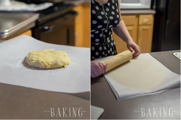 How to roll out dough for plum butter cookies on parchment paper with a rolling pin.