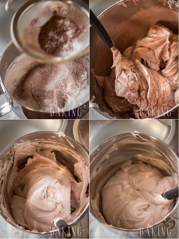 Adding the dry ingredients to the chocolate cake batter.