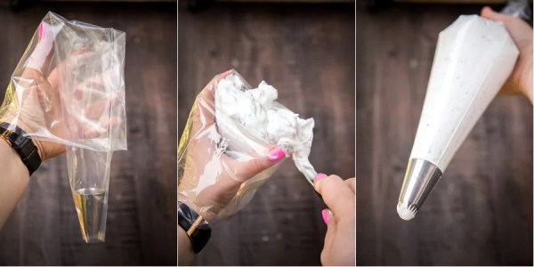 How to fill a piping bag with meringue.