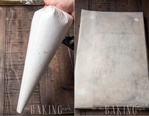 How to shape two large circles on a parchment paper.