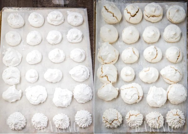 How to bake meringues until meringues are lightly golden.